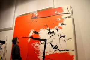 """San Román.""""RED BAY"""". 292 X 304 cm. Lienzo sobre bastidor. Acrílico y materias acrílicas y textiles"""