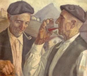 Un trago de vino.Kaperotxipi